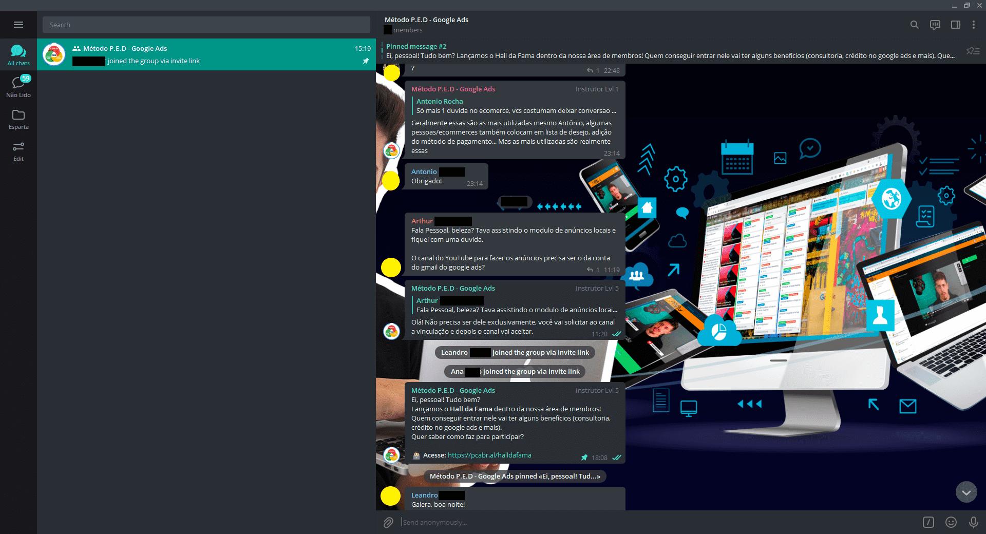 Acesse a nossa comunidade no Telegram e tenha suporte com a equipe!